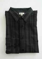 Haggar Men#x27;s Easy Care Black Button Front Long Sleeve Shirt NWT $24.99