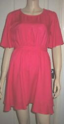 FOREVER 21 Hot Pink Short Sleeve Back Flap Sundress Size S BNWT