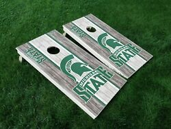 VINYL WRAPS Cornhole Board DECALS Michigan Spartans 02 MSU Bag Game Toss Sticker