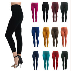 Women Seamless Fleece Lined Leggings Solid Colors Winter Warm Thick Regular Size