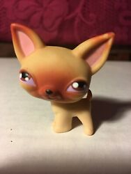 Littlest Pet Shop Chihuahua Tan Brown big Eyes Puppy Dog LPS 2004 Red Magnet