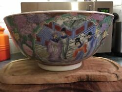 Large Vintage Chinese Hand Painted Famille Rose Porcelain Bowl