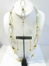 3 PIECE CONTEMPORARY SET GOLD TONE LOOPS BEADS SHINY NECKLACE EARRINGS BRACELET $15.00