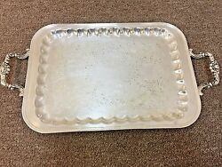 Vintage Armor Silver Co. Silver Plated Double Handle Serving Butler Tray