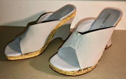 Charles Jourdan Sculptural Wedge Heels 80s 90s Shoes Rattan Silk Leather US sz 8