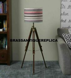 Nautical Wooden Floor Lamp Shade Light Handmade Copper Antique Adjustable Lamp $75.00