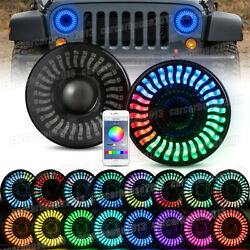 Pair For Jeep Wrangler JK TJ LJ Halo RGB 7'' LED Headlights DRL Lights Combo Kit