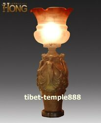 66 cm Western art deco pure bronze Glass four Women Girl table lamp desk lamp
