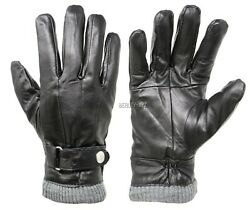 New Men#x27;s Classy 100% Leather Winter Warm Gloves with Strap Driving Gloves $15.99