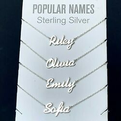 ANY Name Plate Necklace Personalized Custom Sterling Silver 925 Pendant Gift $21.80