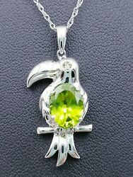 Sterling Sliver 925 Oval Faceted Green Peridot CZ Toucan Bird Pendant Necklace