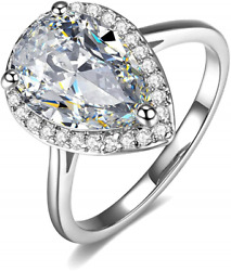 UMODE 18K White Gold Plated Teardrop Halo Pear Cut 4 Carat Cubic Zirconia CZ for