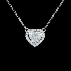 White Gold 1.40ct Heart Diamond Necklace MSRP: $8000