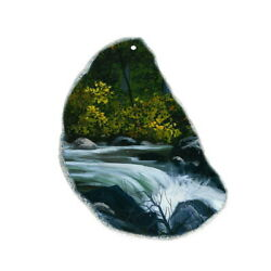 Color Printing oil painting Agate Gemstone Pendant Necklace H1903 1199