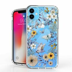 For iPhone 11 6.1quot; Hybrid Bumper Shockproof Case Purple Flowers Butterfly $10.99