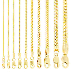 14K Yellow Gold Solid 0.9mm-6mm Round Box Franco Chain Pendant Necklace 16