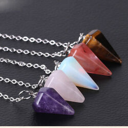Gemstone Hexagon Pendulum Chakra Healing Point Reiki Pendant Charm Chain