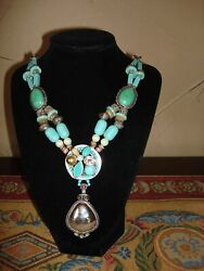 Gorgeous CHICO'S Jeniece Turquoise Silver Pendant Statement Necklace