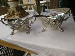 VINTAGE STERLING SILVER PLATED GORGEOUS FOOTED SUGAR & CREAMER SET