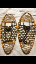 VINTAGE HANDMADE FABER CANADIAN BEAR PAW SNOWSHOES LOOK AT THESE $300.00