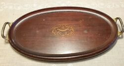 Antique Inlaid Wooden Serving Butler Tray with Handles