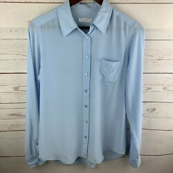 Equipment Women's Small Light Blue Silk Button Down Shirt Flaws