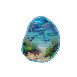 Color Printing oil painting Agate Gemstone Pendant Necklace H1903 0820