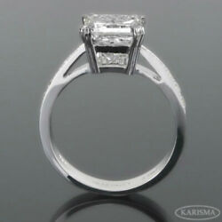 DIAMOND RING PRINCESS ACCENTED EARTH MINED SI3 WOMEN 18 KT WHITE GOLD 2.34 CT