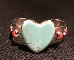 Gorgeous Signed Native American Silver Turquoise Coral Heart Bracelet Ladies