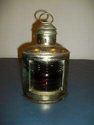 Vintage Red Glass Oil Lamp With Metal Body Decorative Exterior Lamp