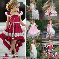 Flower Girls Kid Toddler Baby Princess Party Christmas Wedding Lovely Maxi Dress