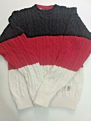 Vtg 90s Tommy Hilfiger Mens Medium Cable Knit Sweater Crew Neck Blue Red Cream L