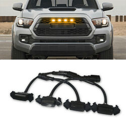 4x Smoke Front Grille LED Light Amber For Toyota Tacoma 2016-2019 w Pro Grille