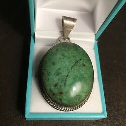 Gorgeous Vintage Mexican Natural Turquoise and Sterling Large Cabochon Pendant