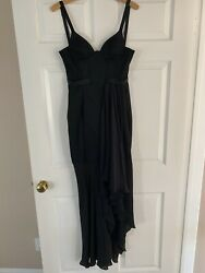 Theory Bralette V Maxi Women#x27;s Dress Size 2 Silk Black Gown Long $180.00