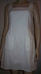 LOOK FASHION White Cotton Flower Pocket Sleeveless Summer  Dress Size 10