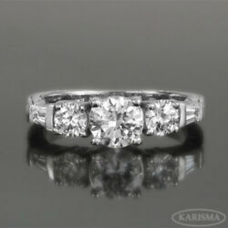 ACCENTED VS D DIAMOND RING 5 STONES EARTH MINED 14K WHITE GOLD LADIES 1.41 CT