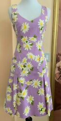 MOSCHINO CHEAP CHIC COTTON LILAC SLEEVELESS DRESS DAISY PATTERN SZ 4 ITALY $595 $89.99