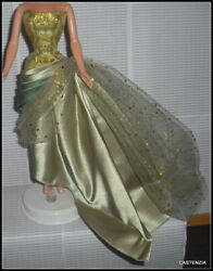 DRESS MATTEL BARBIE DOLL EXOTIC BEAUTY GREEN GOLD SATIN EVENING GOWN CLOTHING