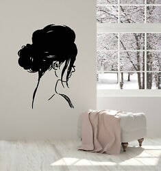Vinyl Wall Decal Girl Head Profile Hairstyle Sketch Modern Stickers g1825 $29.99