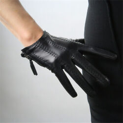Women Genuine Leather Gloves Short Fashion Half Palm Gloves Leather Touchscreen $35.99