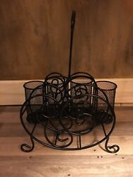 Black Wrought Iron Serving Caddy