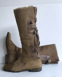 Duscia Duscia Boots Womens Calf Hair Leather Boots Sz US 7 Brown Pre owned $120.00