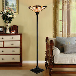 Tiffany Style Mission 1 Light Torchiere Floor Lamp w 14quot; Lampshade Decoration $109.49