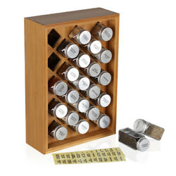 Wooden Spice Rack With 23pcs Glass Bottles Storage Organizer Kitchen Holder