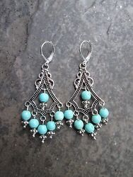 Turquoise Boho chic Chandelier Earrings with Sterling Silver lever backs $15.00