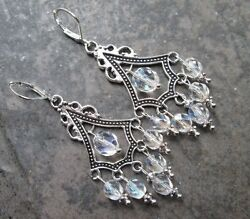 Aurora Borealis Boho Chic Chandelier Earrings with Sterling Silver lever backs $15.00