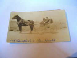 VINTAGE BLACK AND WHITE PHOTOGRAPH 2 MEN AND WAGON HORSE STEPPING OUT