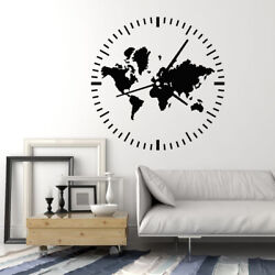Vinyl Wall Decal Clock Travel Tourism Abstract Map World Home Stickers g1871 $27.99