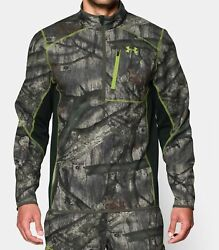 Under Armour UA ¼ Zip Infrared Hunting Jacket Mossy Oak Hunt Camo L Large Loose $84.99